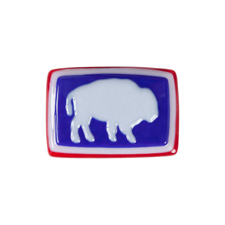 Bison glass buckle red white blue