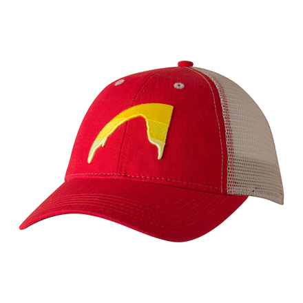 Sunset peak trucker cap engine red