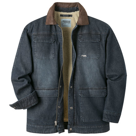 M ranch shearling jacket dark denim open