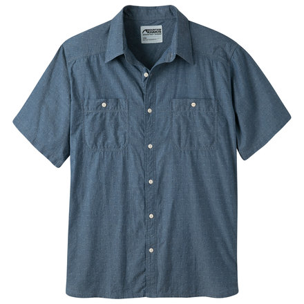 Ace indigo shirt men 39 s short sleeve classic fit shirt mk for Mens short sleve dress shirts